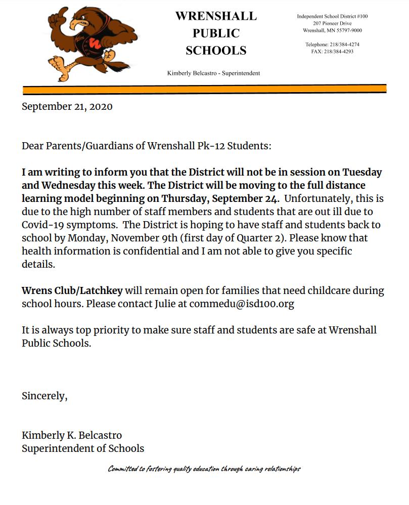 Wrenshall School Letter
