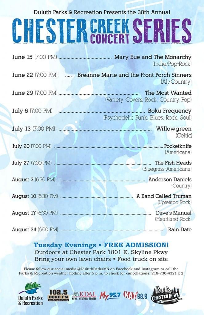 Chester Creek Concert Poster 2021