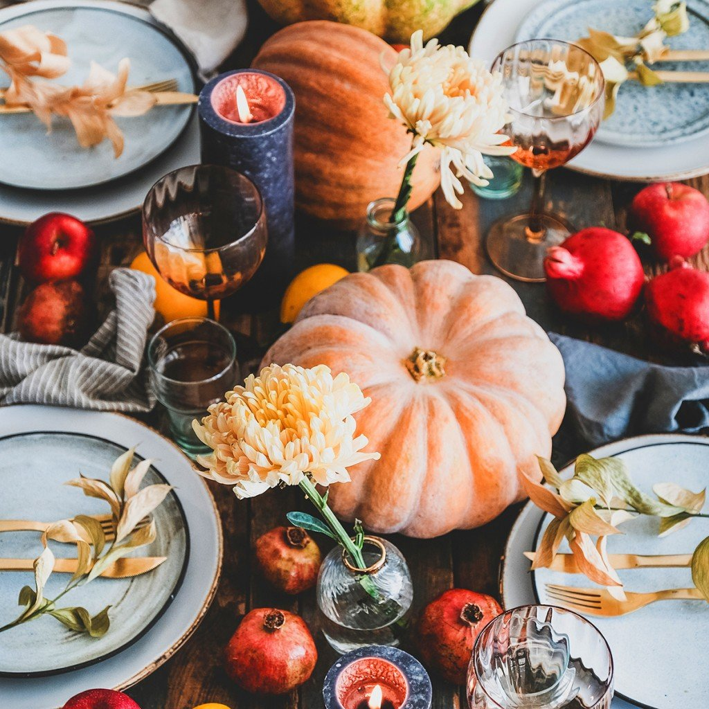 Fall Table Setting For Thanksgiving Day Party, Square Crop