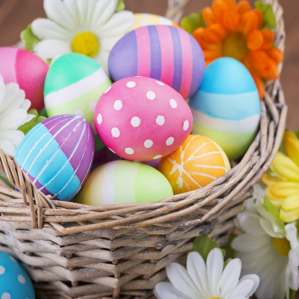 Basket With Colourful Hand Painted Easter Eggs