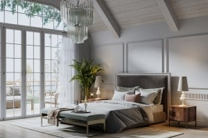 Digitally Generated Bedroom In A Beautiful Cottage