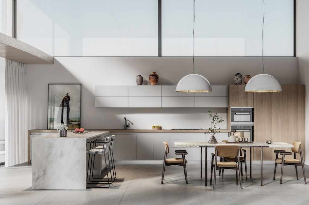 Digitally Generated Image Of A Modern Kitchen With Dining Table
