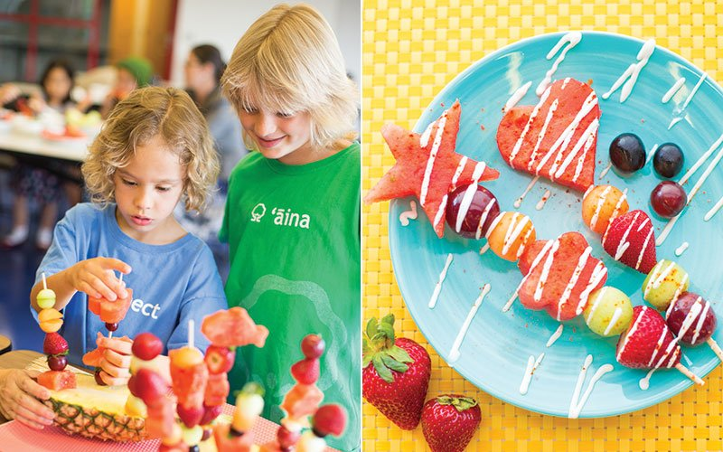 Kids with watermelon kebabs