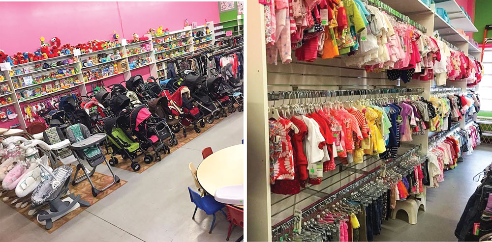 Clothes on racks at Caterkids