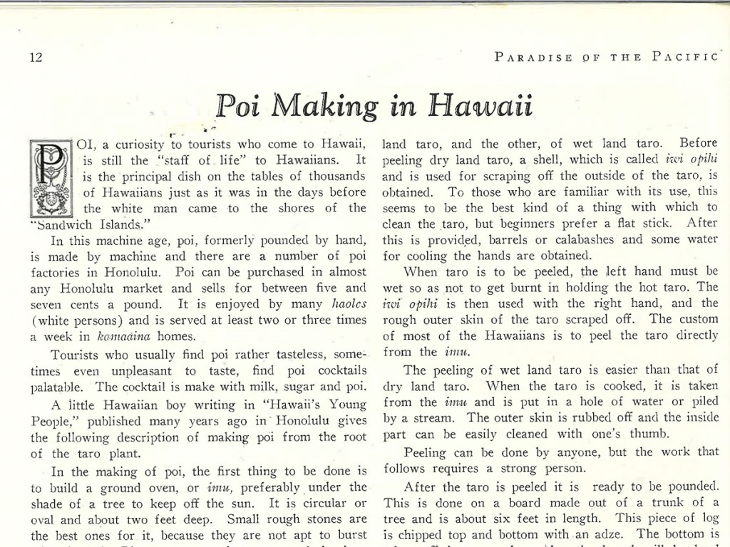 From Our Files Poi Making In Hawaii 1930 History Cover