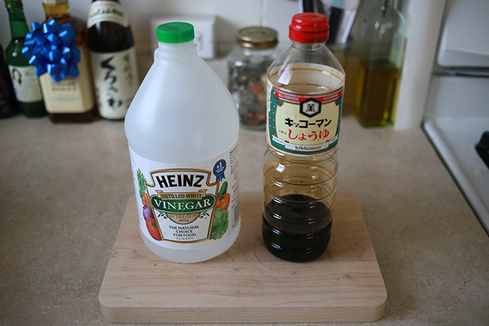 1/8 cup of vinegar and 1/4 cup of shoyu