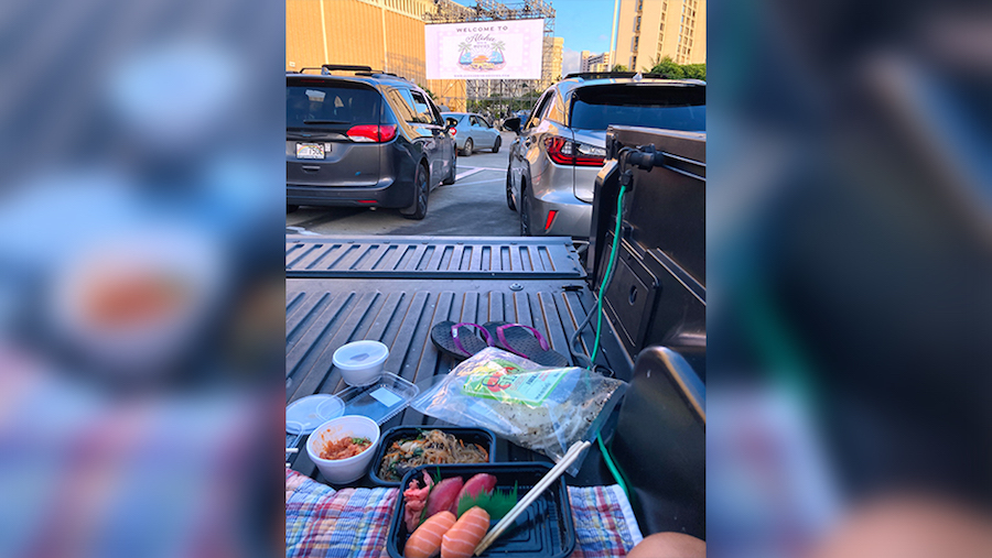 spread from ahi and vegetable at a drive-in movie