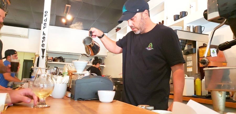 pouring a pour over coffee