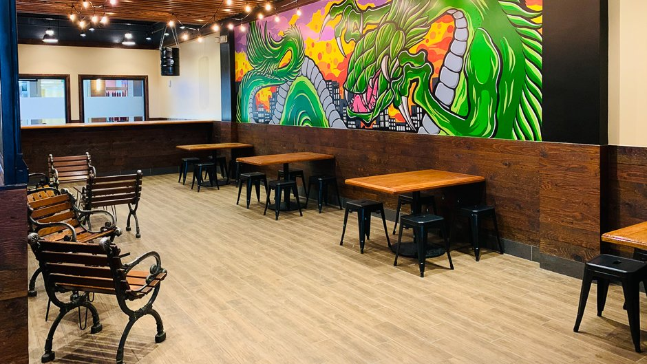 seating area at beer lab pearlridge