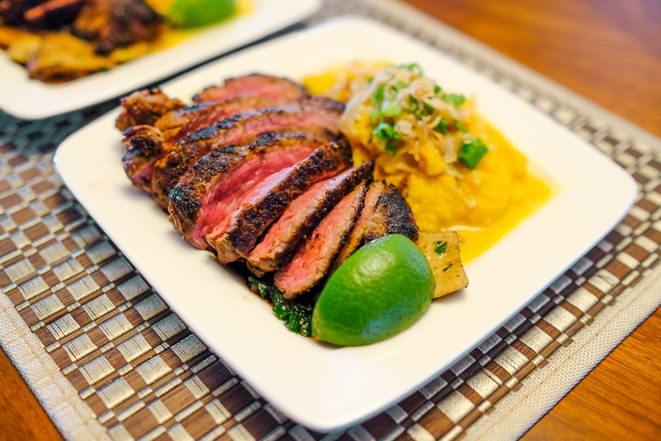 steak with kabocha mash