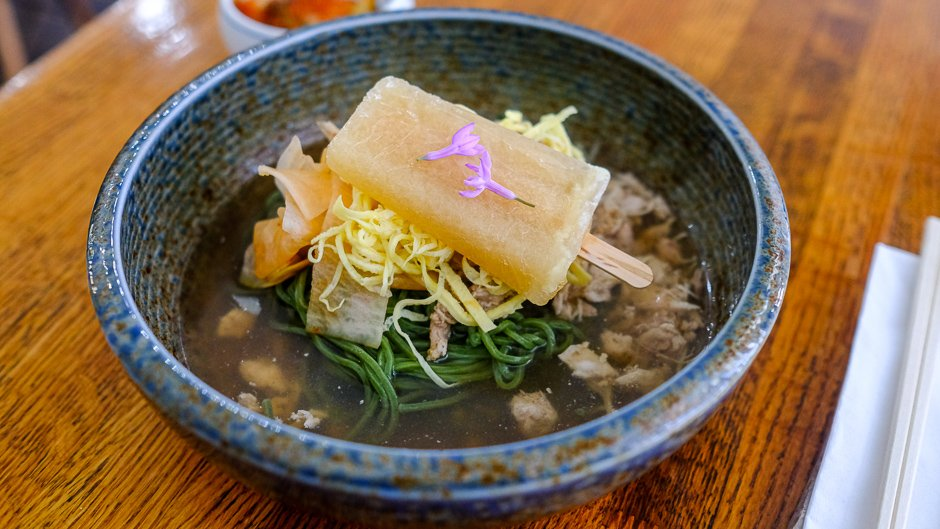 cold chicken soba with mustard popsicle