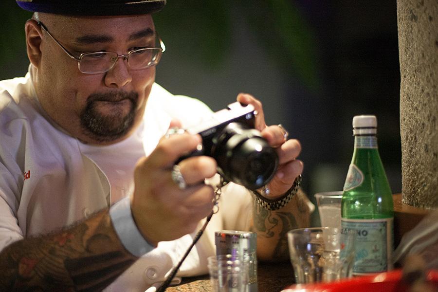 Ed Morita taking photos