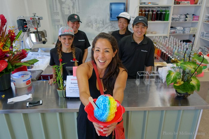 Catherine Toth being bossy and cooling off at Hawaii's Favorite Kitchens.