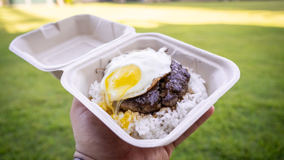 loco moco - beef patty on rice with a fried egg and gravy