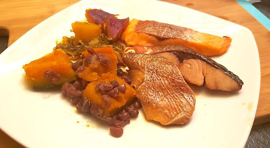 salmon and kabocha