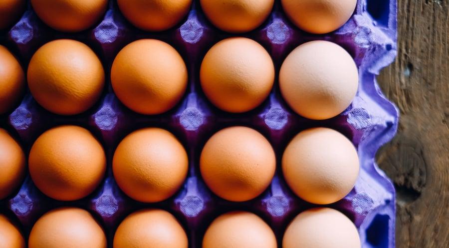 brown eggs nestle in a purple cardboard egg crate
