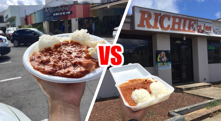 Rainbow Drive In versus Richie's Drive Inn Chili Dog plate lunch Honolulu Hawaii best