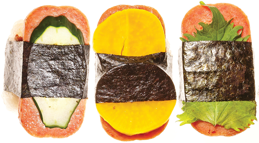 top-down view of 3 spam musubi with assorted toppings