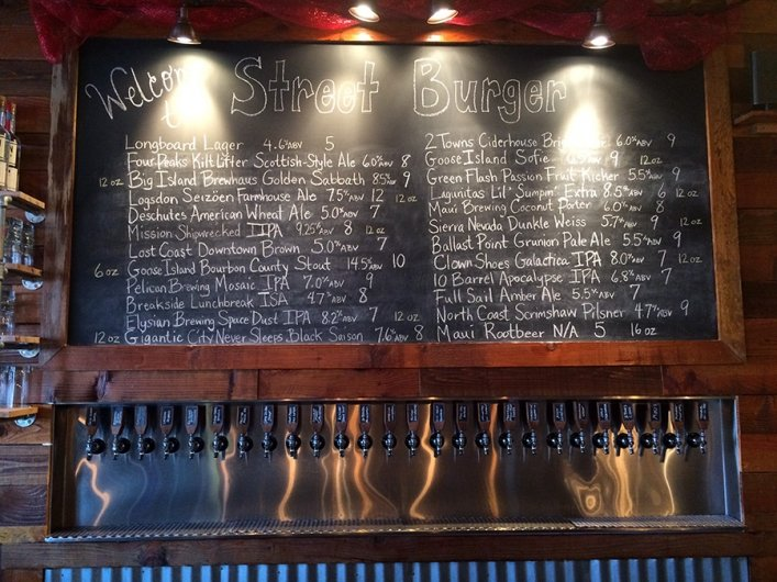 Street Burger has a huge selection of local and mainland beers to pair with their droolworthy burgers.