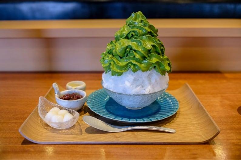 Ujikintoki matcha shave ice with shiratama mochi and azuki beans