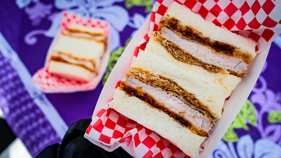 Crispy pork and chicken katsu sandwiches on fluffy Japanese bread