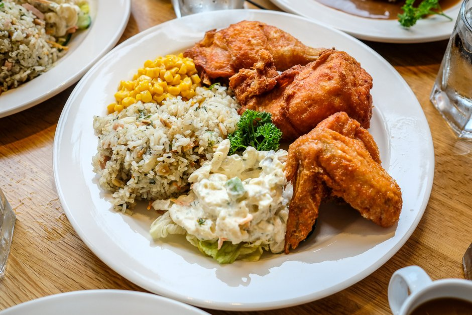 Liliha Bakery fried chicken plate