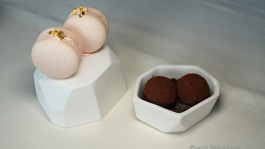 Cherry blossom macaron and truffles