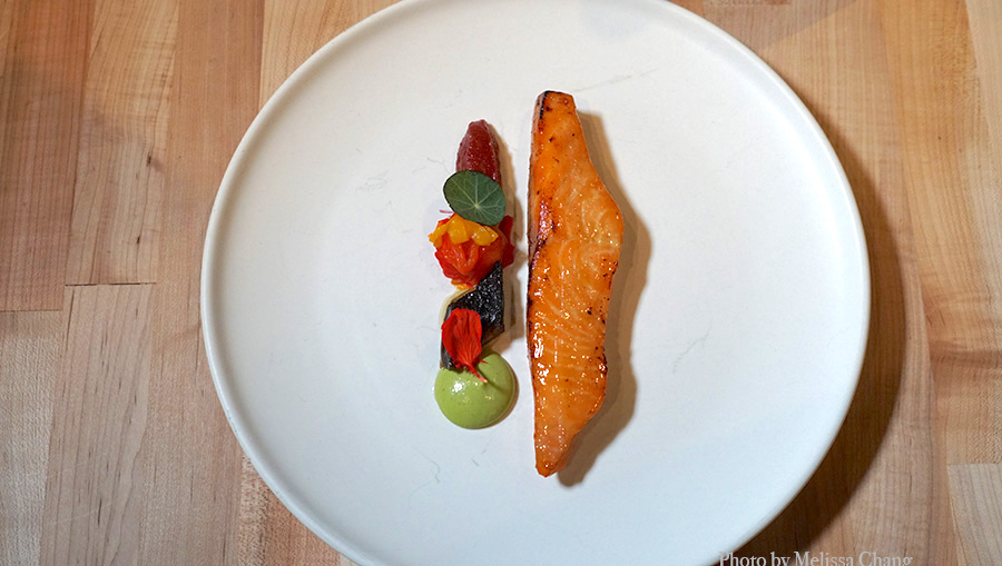 a sliver of grilled salmon rests next to a line of foams and garnishes