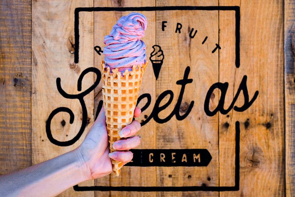 berry and vanilla ice cream cone