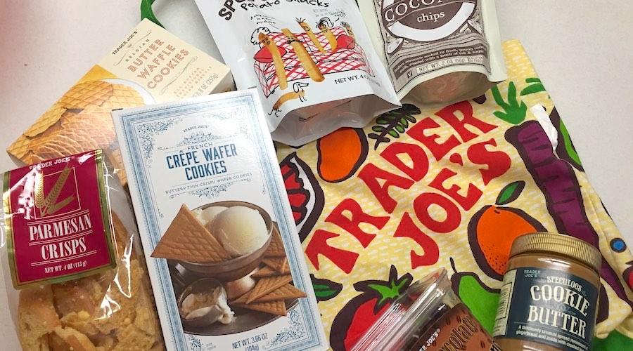 array of packaged trader joe's snacks
