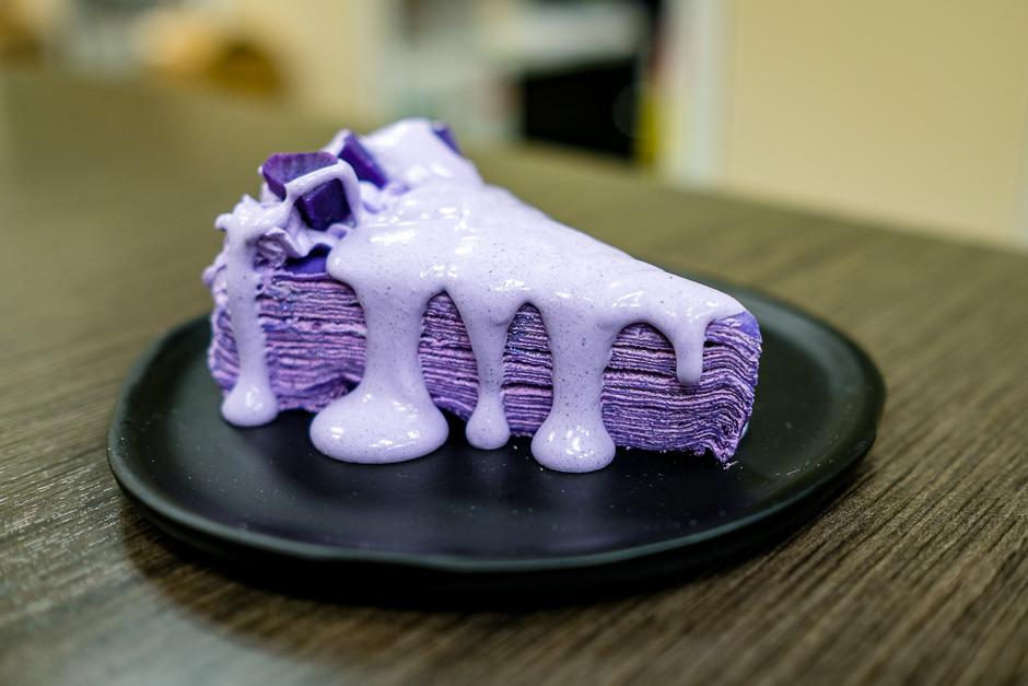 Ube mille crepe cake