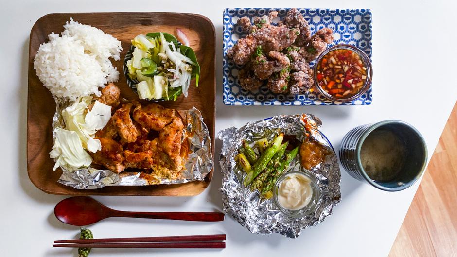 aburiyaki pork belly and shio koji chicken karaage