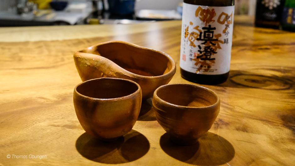 masumi arabashiri junmai ginjo with bizenware cups