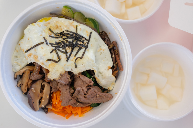The bulgogi bibimbap ($13.95 + $2 for bulgogi) is actually pretty sizable and would make a decent lunch entree on its own.