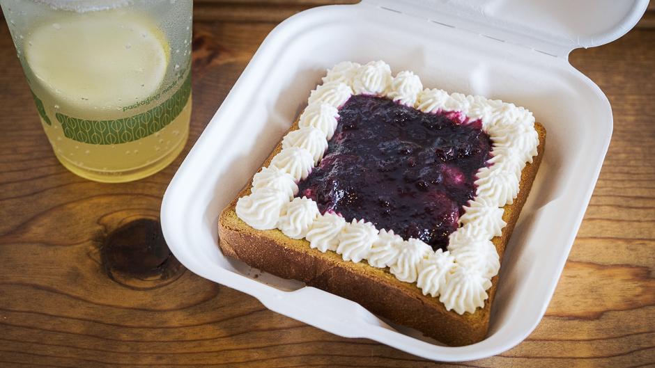Blueberry jam and cream toast