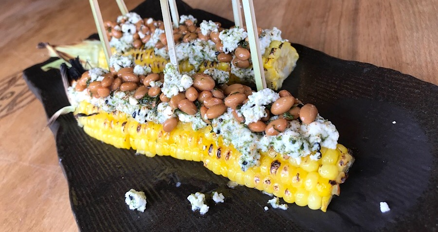 grilled corn with natto, shoyu-butter baste, parmesan cheese and furikake