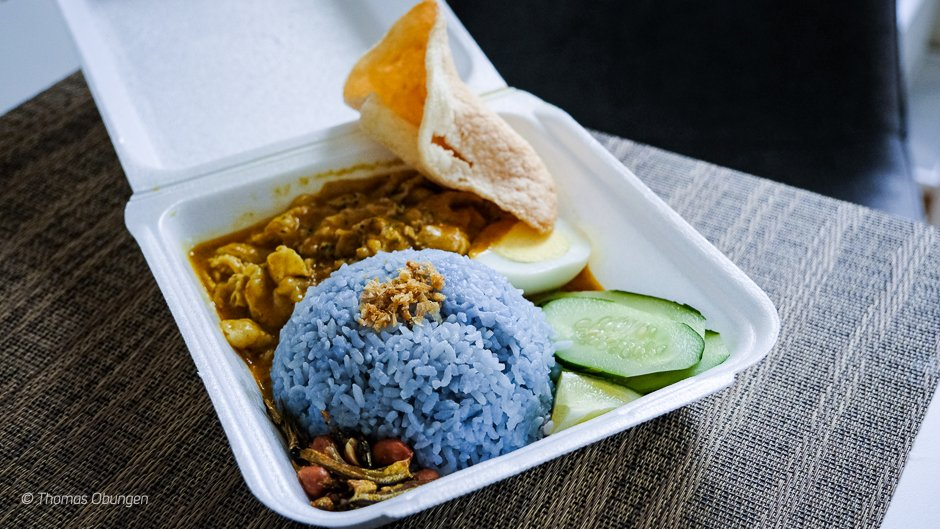 curried beef with coconut rice plate