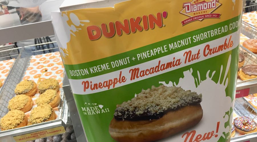 Diamond Bakery Dunkin' Donuts Boston Kreme Pineapple Macadamia Nut Shortbread Cookie