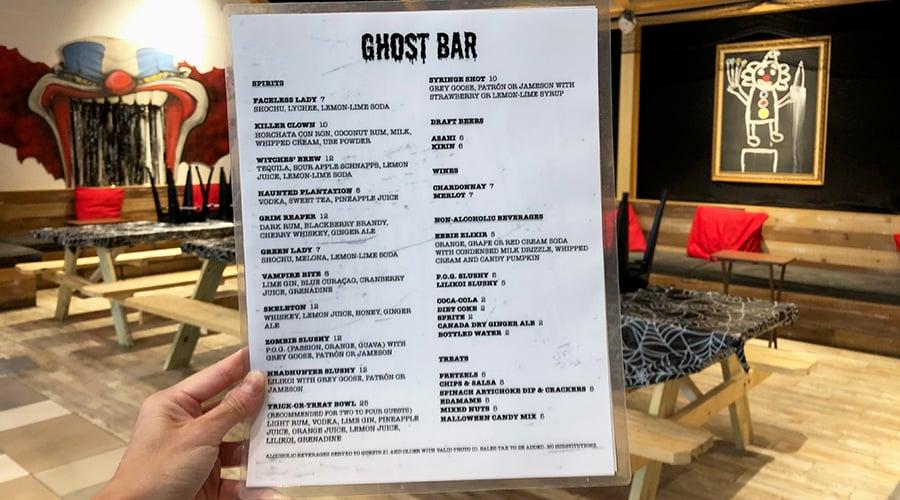 Ghost Bar menu