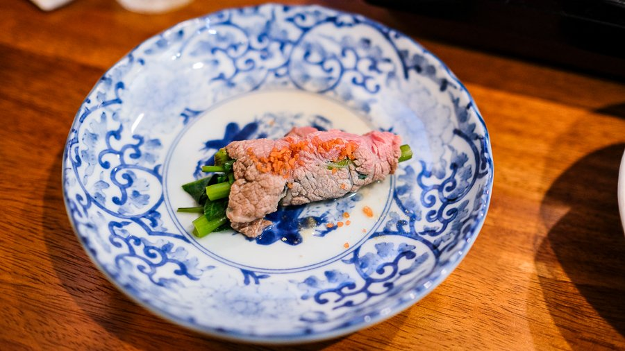 American wagyu beef with ong choi and alaea salt