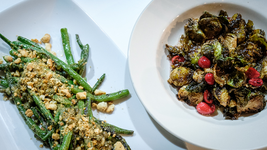 long beans and brussels sprouts