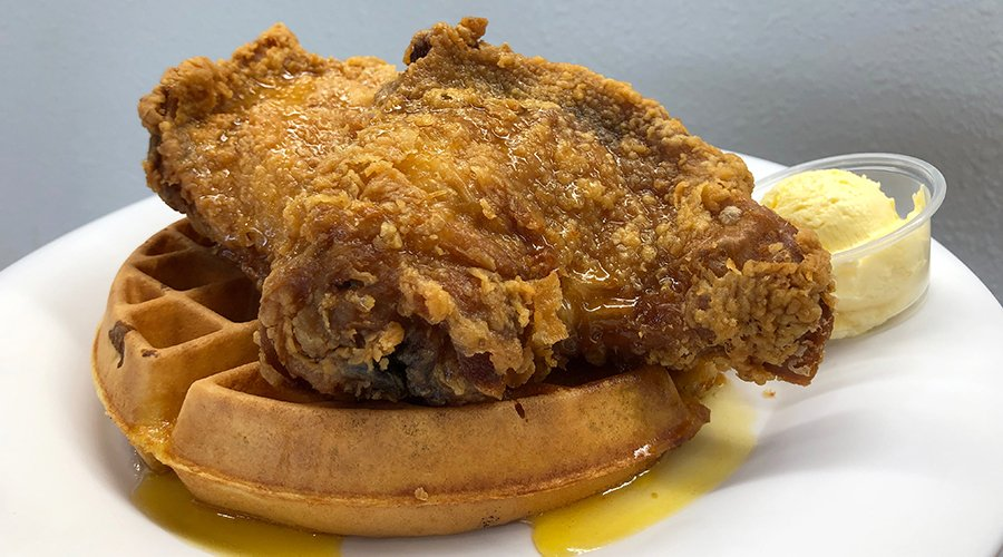 Pancakes and Waffles fried chicken