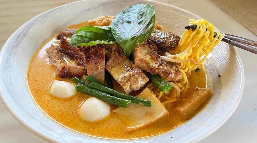 curry laksa with lemongrass pork chops
