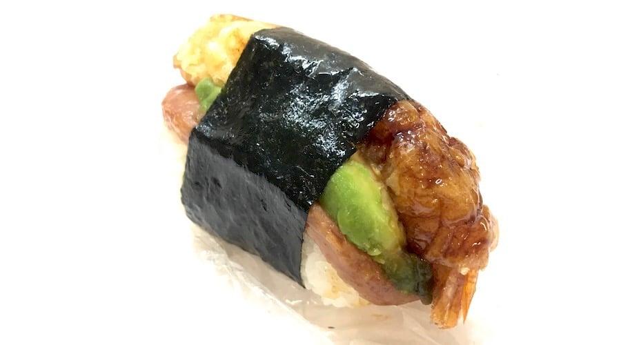 shrimp tempura avocado spam musubi