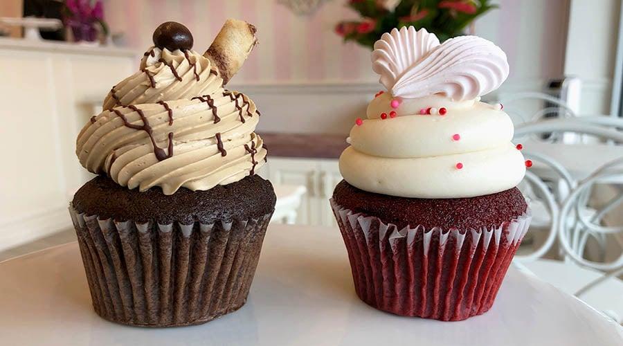 red velvet and chocolate espresso cupcakes