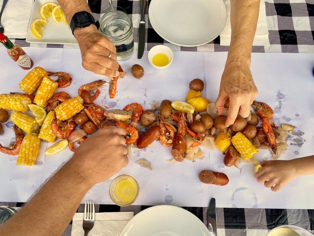 Hawaii Shrimp Boil On The Table Photo Laura Dornbush