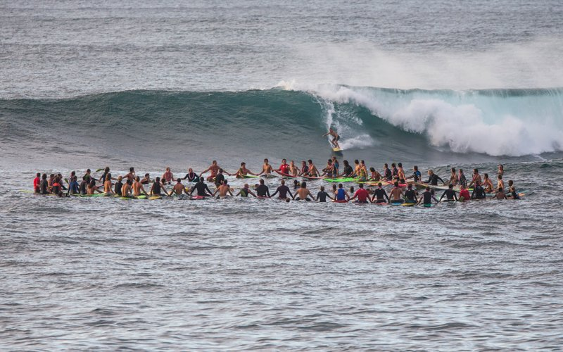 The surf at Quiksilver in Memory of Eddie Aikau contest.