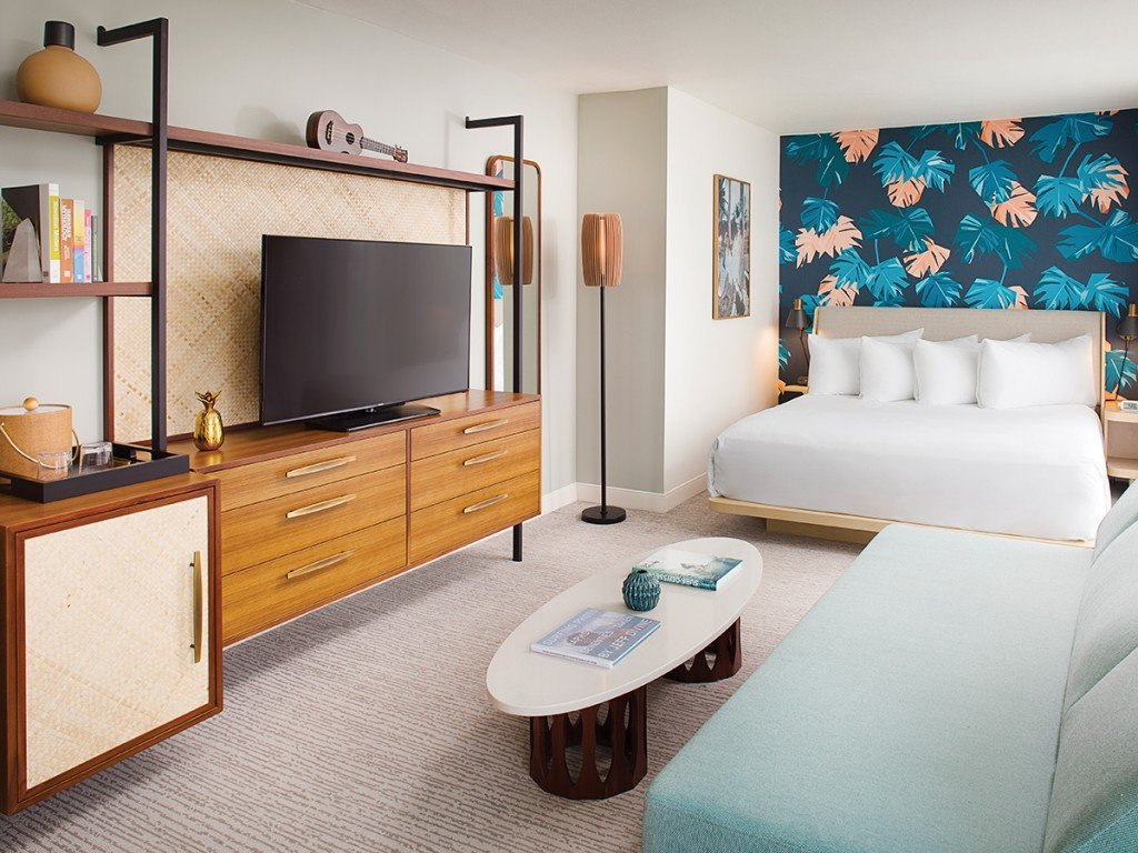 The Laylow Waikiki Hotel Blue Wall Bedroom