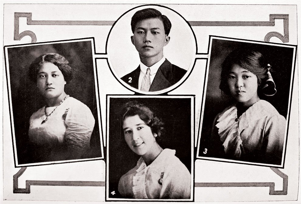 The entire 1914 graduating senior class, from left: Irene Kalai, En Kong Wung, Rita Canario, Matsuyo Sakuma.