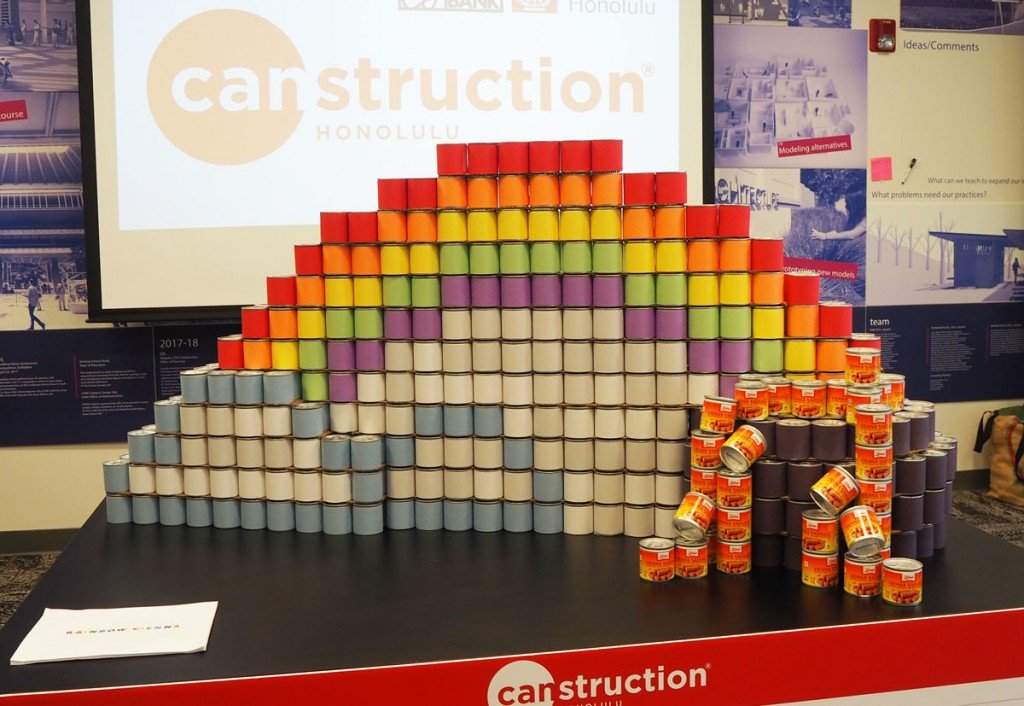 Canstruction Rainbow Sculpture 2020